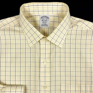 Brooks Brothers Mens White Check Button Front